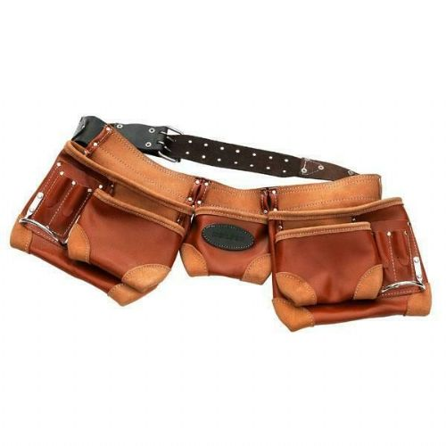 12 Pocket Heavy Duty Tanned Leather Riveted Adjustable Nail & Tool Belt